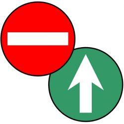 Ronds de signalisation double-face SENS INTERDIT - Signalétique adhésive