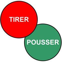 Ronds de signalisation double-face TIRER/POUSSER - Signalétique adhésive