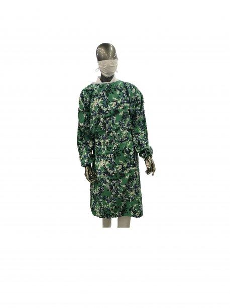 Sur-blouse lavable verte à fleurs