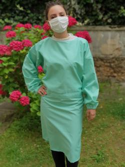 Sur-blouse lavable unie verte pâle