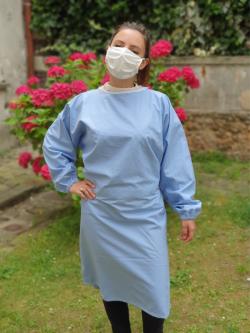 Sur-blouse lavable unie bleue pâle